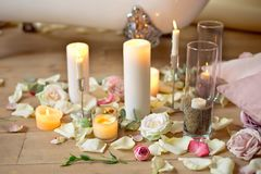 Spa, health and wellness concept with rose petals Stock Photo