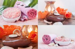 Spa. Health care. Spa treatments icons. Sea salt, bar of soap, towels sea shells with stones and candles Stock Photos