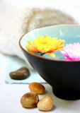 Spa or health farm setting. White towel and bowl of floral scented water Royalty Free Stock Photo