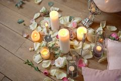 Spa, health and wellness concept with rose petals Stock Images