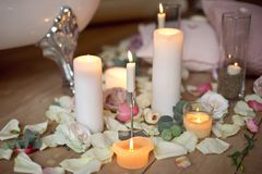 Spa, health and wellness concept with rose petals Royalty Free Stock Images