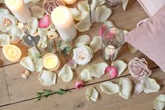 Spa, health and wellness concept with rose petals Royalty Free Stock Photography