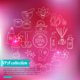 Spa and healthcare outline icons set over blurred Royalty Free Stock Photography