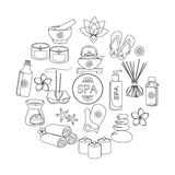 Spa and healthcare outline icons set Royalty Free Stock Image