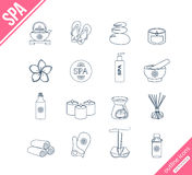 Spa and healthcare outline icons set Stock Images