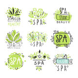 SPA healthy beauty studio set for label design. Health and beauty care. Colorful vector Illustrations Royalty Free Stock Photography