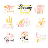 SPA healthy beauty studio set for label design. Health and beauty care, colorful watercolor vector Illustrations Stock Photo