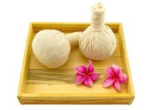 Spa herbal compressing ball , pink frangipani flowers Stock Photo