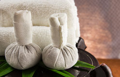 Spa herbal compressing ball with towels. Stock Images