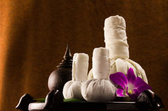 Spa herbal compressing ball with wooden casket and orchid Stock Photos