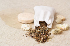 Spa herbs. And soap, natural and rustic style Stock Images