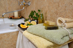 Spa in home bathroom Royalty Free Stock Photo
