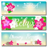 SPA horizontal banners. Beauty salon, luxury hotel resort advertising. SPA horizontal banners with beach summer background, orchid flowers and spa stones. Beauty Stock Image