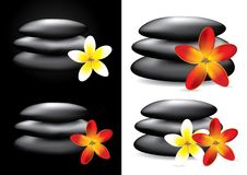 Spa hot stones and flower, Stock Photography