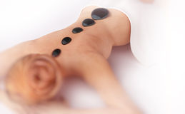 Spa Hot Stones Massage Stock Photo