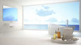 Spa, hotel bathroom concept. White table top or shelf with bathing accessories, toiletries, over blurred panoramic minimalist bath. Room, modern architecture royalty free illustration