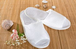 Spa or hotel slippers Stock Photos