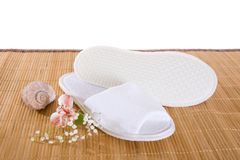 Spa or hotel slippers Royalty Free Stock Images