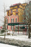 Spa Hotel in snowy in Pomorie, Bulgaria, winter royalty free stock images
