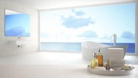 Spa hotellbadrumbegrepp Vit tabellöverkant eller hylla med badningtillbehör, toalettartiklar, över suddigt panorama- minimalist b royaltyfri illustrationer