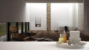 Spa hotellbadrumbegrepp Vit tabellöverkant eller hylla med badningtillbehör, toalettartiklar, över suddigt vitt minimalist badrum royaltyfri illustrationer