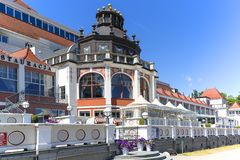 Spa House at the Baltic sea, near the Pier, Sopot, Poland. SOPOT, POLAND - JUNE 5, 2018: Spa House at the Baltic sea, near the Sopot Pier royalty free stock images