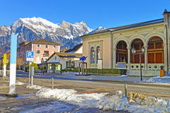 Spa house with Cat statue and Mountain in Bad Ragaz Royalty Free Stock Image