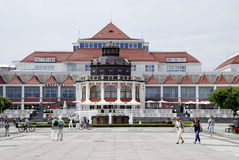 Spa house of Sopot in Poland. People in front of the Spa house in the Polish Baltic resort of Sopot in Poland Stock Image
