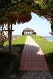 Spa hut overlooking ocean Royalty Free Stock Photos