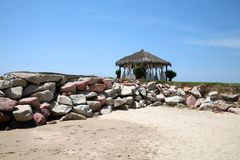 Spa hut on sandy beach Royalty Free Stock Images