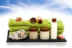 Spa hygiene tools for spa. Isolated bath spa elements on sky royalty free stock photo