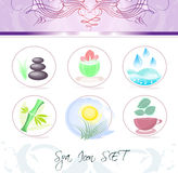 Spa icon set. A set of spa and wellness icons with hot stones, moisture cream, whirlpool, bamboo, idyllic landscape and herbal tea symbols Royalty Free Stock Photos