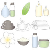 SPA icons. Set of spa icons. Drawn in Illustrator with charcoal brush to make it look like traditional pastel drawing Stock Photography