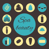Spa icons. Colorful spa beauty icons on the brown background Royalty Free Stock Image