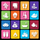 Spa icons in flat style Stock Image