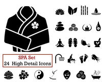 24 SPA Icons. Set of 24 SPA Icons in Black Color Royalty Free Stock Images