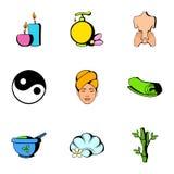 Spa icons set, cartoon style Royalty Free Stock Photos