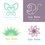 Spa icons. Set of spa icons on different colored backgrounds. Vector illustration Stock Photography