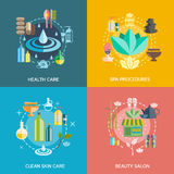 Spa Icons Set. With health care spa procedures skin care and beauty salon symbols  flat  vector illustration Stock Photo