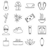 Spa icons set, outline style Royalty Free Stock Photo