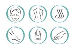 SPA icons set. Spa Massage Therapy Skin Care Cosmetics Services Icons. Vector Illustration. beauty salon vector illustration