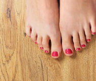 Spa image of beautiful female feet with nail polish Stock Photography