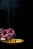 Spa incense  with  pink chrysanthemums Royalty Free Stock Photos
