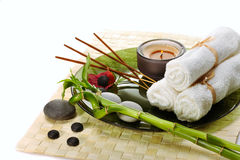 Spa with incense sticks Stock Photo