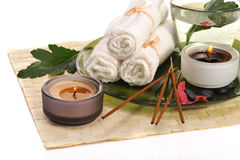 Spa with incense sticks Royalty Free Stock Images