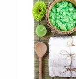 Spa installation on a bamboo surface Stock Photos