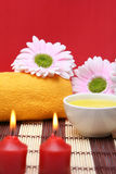 Spa items. A spa items composition with towel and candles Royalty Free Stock Photos