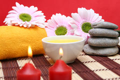 Spa items. A spa items composition with towel and candles Stock Images