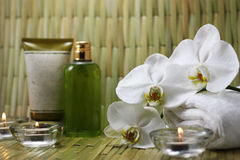 Spa Items. Including orchid, candles and body care products Royalty Free Stock Photos
