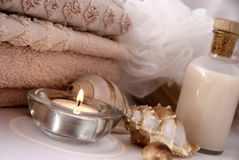 Spa items. A photo about bodycare items in a spa Stock Photography